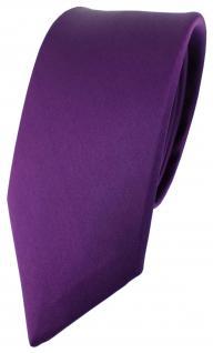 schmale TigerTie Satin Seidenkrawatte Lila - Krawatte Binder 100% Seide Silk Tie