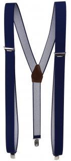 schmaler Hosenträger marine dunkelblau Uni mit Clip - verstellbar 75 bis 120 cm