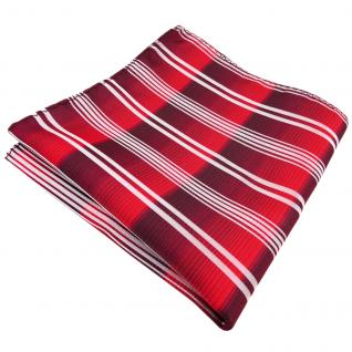 Einstecktuch in rot verkehrsrot bordeaux silber gestreift - Tuch 100% Polyester