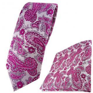 schmale TigerTie Krawatte + Einstecktuch in magenta silber Paisley gemustert