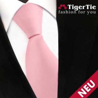 TigerTie Satin Krawatte rosa Uni - Schlips Binder Tie