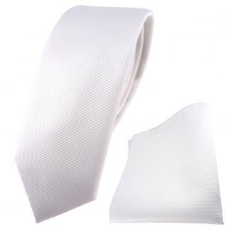 schmale TigerTie Krawatte + Einstecktuch in weiß reinweiß schneeweiß Uni Rips