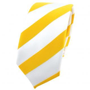 Schmale TigerTie Krawatte in gelb goldgelb weiß gestreift - Schlips Tie Binder