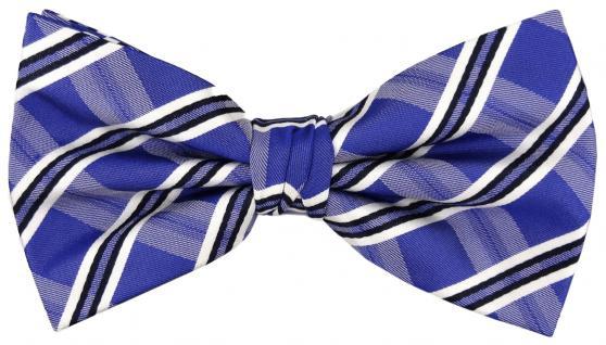 TigerTie Designer Seidenfliege blau royal silber schwarz gestreift -Fliege Seide