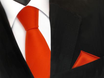 TigerTie Krawatte + Einstecktuch in orange rotorange uni - Binder Tie Polyester