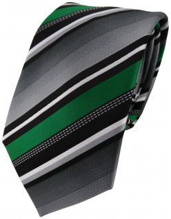 TigerTie Designer Krawatte in grün silber grau weiss gestreift - Tie Binder