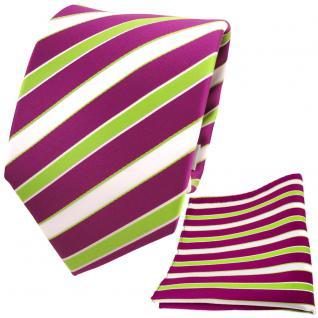 TigerTie Designer Krawatte + Einstecktuch magenta fuchsia grün weiß gestreift
