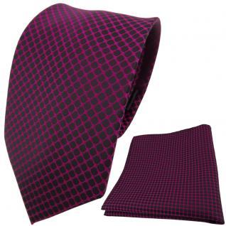 schöne Designer TigerTie Krawatte + Einstecktuch magenta schwarz gemustert