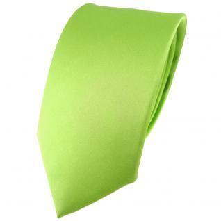 Modische TigerTie Satin Seidenkrawatte hellgrün einfarbig - Krawatte 100% Seide