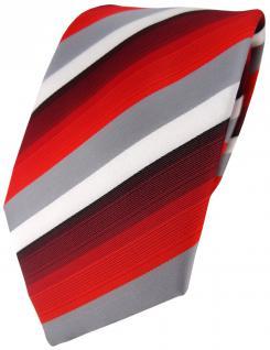 TigerTie Designer Krawatte in rot weinrot grau weiss gestreift - Tie Binder