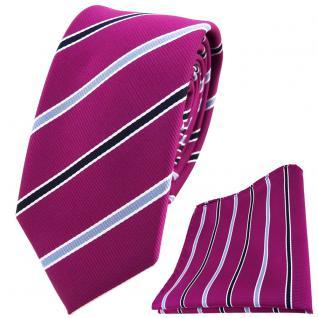 schmale TigerTie Krawatte + Einstecktuch in magenta violett blau weiss gestreift
