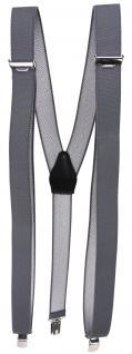 schmaler Hosenträger in grau anthrazit Uni mit Clip - verstellbar 75 bis 120 cm