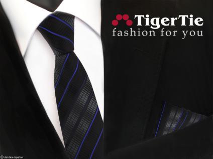 schmale TigerTie Krawatte + Einstecktuch schwarz anthrazit blau gestreift