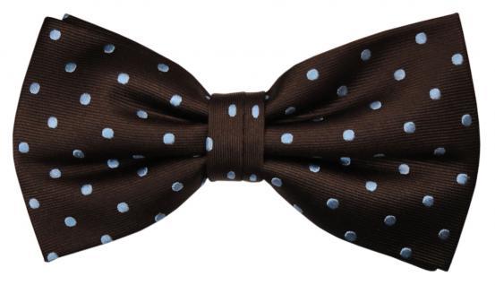 Designer Seidenfliege braun blau hellblau gepunktet - Fliege Seide Silk