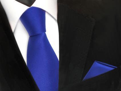 schöne Krawatte + Einstecktuch in blau royalblau uni - Binder Tie Polyester