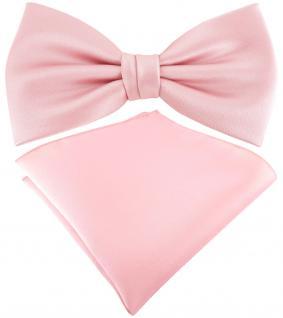 TigerTie Satin Fliege + TigerTie Einstecktuch in rosa Uni Einfarbig + Box