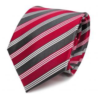 Designer Seidenkrawatte rot verkehrsrot grau anthrazit weiß gestreift - Krawatte