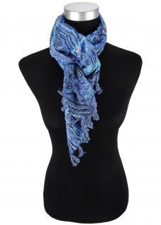 Halstuch blau türkis marine grau gemustert und Fransen an den Ecken - 100x100 cm
