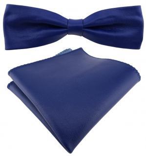 schmale TigerTie Lederfliege in blau + Einstecktuch 100% Lammnappa-Leder