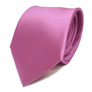 Elegante Designer Krawatte flieder rosa Uni Satin Glanz - Tie Schlips Binder