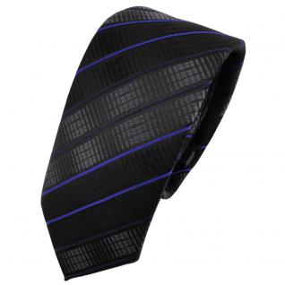 Schmale TigerTie Krawatte schwarz anthrazit blau gestreift - Binder Tie