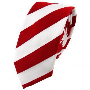 schmale TigerTie Krawatte in rot signalrot weiss gestreift - Schlips Tie Binder