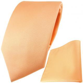 TigerTie Designer Krawatte + Einstecktuch in lachs orange einfarbig uni Rips