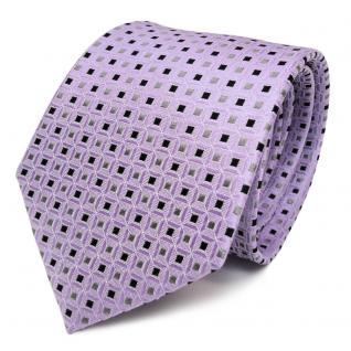 TigerTie Seidenkrawatte lila flieder schwarz gold gemustert - Krawatte Seide Tie