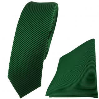 schmale TigerTie Krawatte + Einstecktuch in grün dunkelgrün fein gestreift