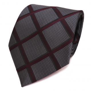 Designer Krawatte grau anthrazit rot weinrot silber kariert - Schlips Binder Tie