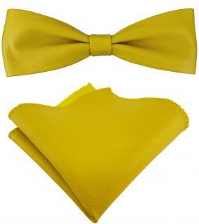 schmale TigerTie Lederfliege in gelb + Einstecktuch 100% Lammnappa-Leder