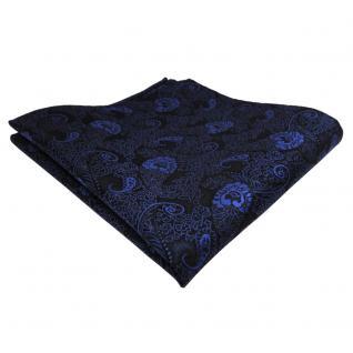 TigerTie Einstecktuch blau dunkelblau schwarz Paisley - Tuch Polyester Pochette