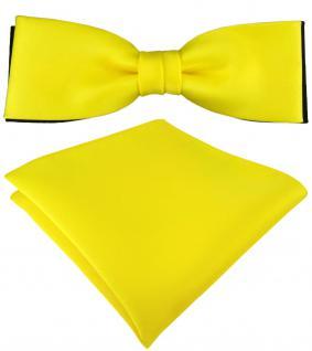 doppelfarbige schmale TigerTie Fliege + Einstecktuch in gelb schwarz + Box