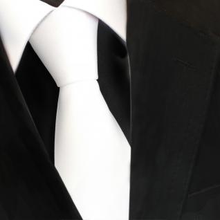TigerTie Designer Krawatte weiss reinweiss Satin Glanz uni - Schlips Binder Tie