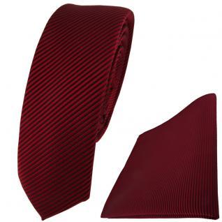 schmale TigerTie Krawatte + Einstecktuch in bordeaux dunkelrot fein gestreift