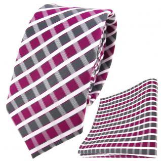 schmale TigerTie Krawatte + Einstecktuch in magenta grau silber weiss gestreift