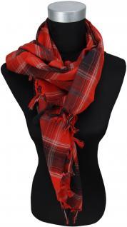 Halstuch rot grau schwarz kariert mit Fransen an zwei Seiten -Gr. 100 x 100 cm