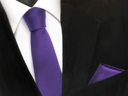 schmale TigerTie Schlips Krawatte + Einstecktuch in lila violett uni einfarbig