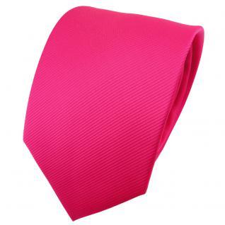 TigerTie Designer Krawatte pink knallpink leuchtpink einfarbig uni Rips - Binder