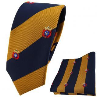 schmale TigerTie Krawatte + Einstecktuch gold dunkelblau gestreift mit Wappen