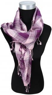 Halstuch rosa violett grau silber kariert mit Fransen - Glitzerfaden eingewebt