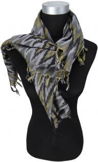 Halstuch silber schwarz m. Fransen - Glitzerfäden eingearbeitet - Gr. 90 x 90 cm