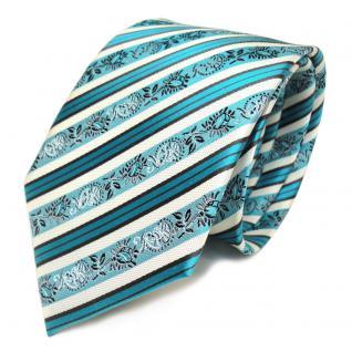 TigerTie Seidenkrawatte türkis weiss silber anthrazit gestreift - Krawatte
