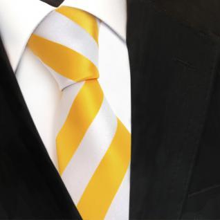 TigerTie Designer Krawatte - Schlips Binder gelb goldgelb weiß gestreift - Tie