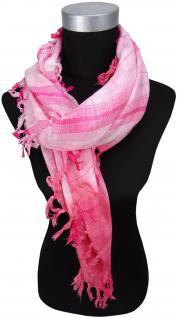 TigerTie Halstuch in rosa silberfaden pink kariert mit Fransen - Gr. 90 x 90 cm