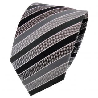 TigerTie Designer Krawatte anthrazit schwarz grau silber gestreift - Binder Tie