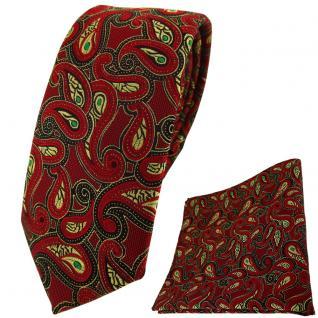 schmale TigerTie Krawatte + Einstecktuch in rot gold grün schwarz Paisley
