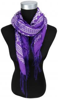 Halstuch in lila grau violett gemustert mit dünnen Fransen - Größe 100 x 100 cm