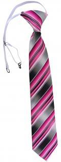 TigerTie Security Sicherheits Krawatte rosa pink anthrazit silber grau gestreift