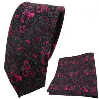 schmale TigerTie Krawatte + Einstecktuch magenta lila schwarz grau paisley